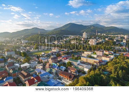 LAZAREVSKOE SOCHI KRASNODAR REGION JULY 5 2017: View of the center of Lazarevskoe city Sochi at sunset in summer