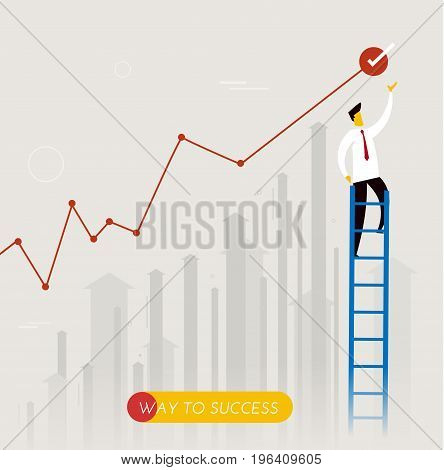 Businessman climbs the stairs. achievements. performance schedule. Vector illustration Eps10 file. Success, growth rates