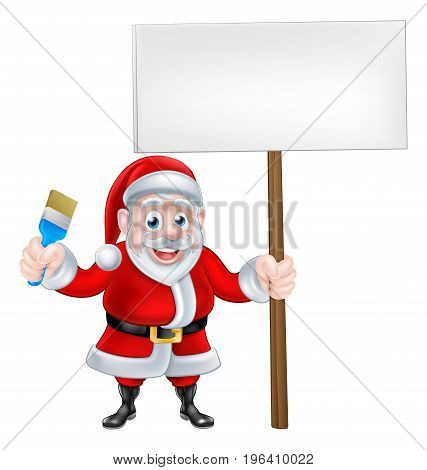Cartoon Santa Claus holding a paintbrush and sign board