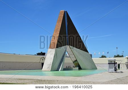 Lisbon Portugal - June 11 2017: Aos Combatentes do Ultramar in Belem. National memorial monument to the Portuguese soldiers fallen in Africa during the 1961-1975