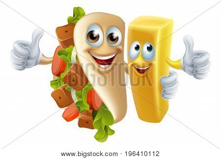 Cartoon kebab and chip fries mascots arm in arm