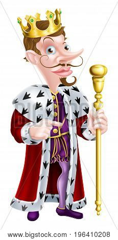 King cartoon character holding a sceptre and giving a thumbs up