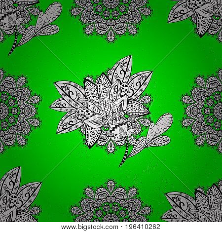 Green and white background with elements. White pattern. Floral pattern. Vector white floral ornament brocade textile pattern.