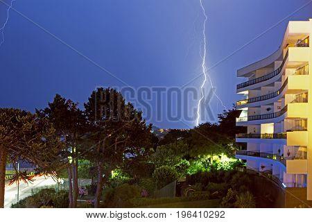 Lightning Strike next to The Grand Hotel - Torquay Devon 2017