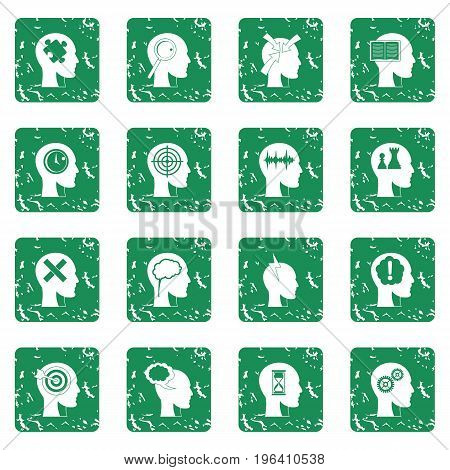 Head logos icons set in grunge style green isolated vector illustration