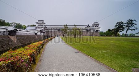 Kanazawa castle, is a large, well-restored castle in Kanazawa, Ishikawa Prefecture, Japan. It is located adjacent to the celebrated Kenroku-en Garden, which once formed the castle's private outer garden.