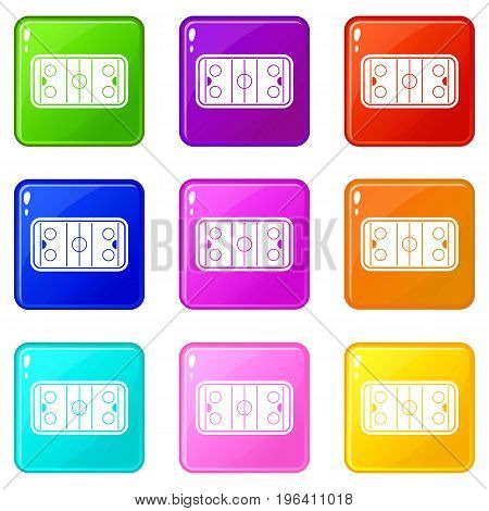 Stadium icons of 9 color set isolated vector illustration