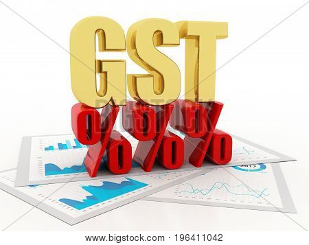 3d Illustration GST Tax India Concept isolated in white background