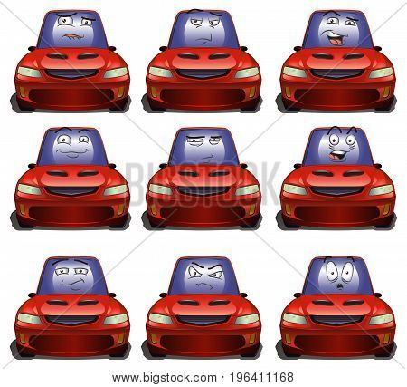 illustration of a luxury red car expresion on isolated white background