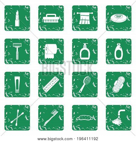 Hygiene tools icons set in grunge style green isolated vector illustration