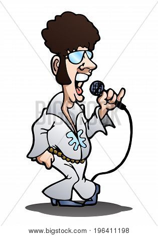 illustration of a retro singer dancing on isolated white background