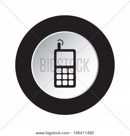 round isolated black and white button with black old mobile phone with antenna and signal icon