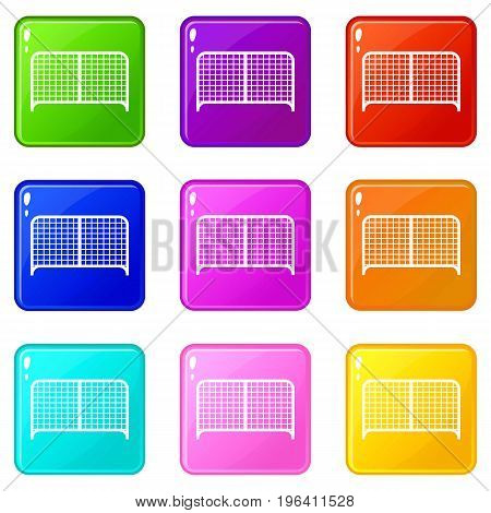 Gate icons of 9 color set isolated vector illustration