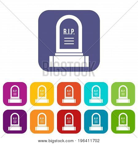 Headstone icons set vector illustration in flat style in colors red, blue, green, and other
