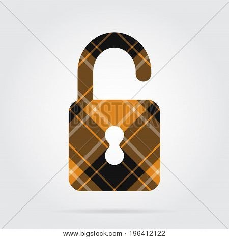 orange black isolated tartan icon with white stripes - open padlock and shadow in front of a gray background