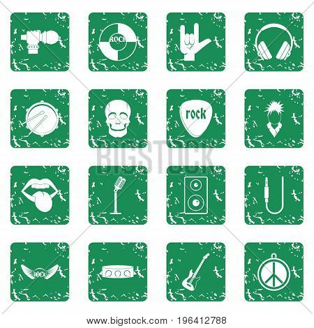 Rock music icons set in grunge style green isolated vector illustration