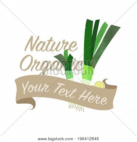 Colorful Watercolor Texture Vector Nature Organic Vegetable Banner Leek
