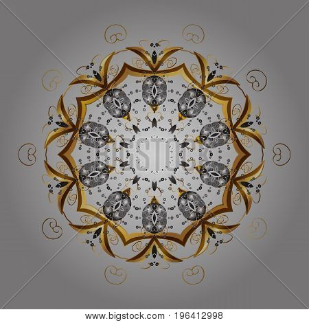 Colorful ornamental pattern on gray background. Winter vector frame with arabesques doodles and golden snowflakes. Fine greeting card.