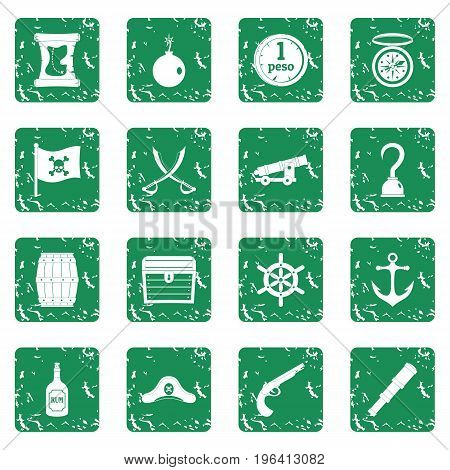 Pirate icons set in grunge style green isolated vector illustration