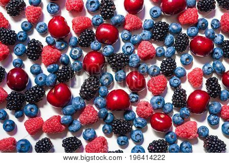 Summer Fruit And Berries. 6 Types Of Raw Organic Farmer Berries - Raspberries Blackberries Blueberri