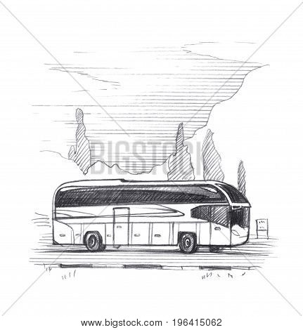 Tourist excursion bus on the background of trees and mountains. Graphic linear tonal drawing by slate pencil. Sepia toned paper. Isolated on white background