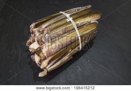 Bundle of razor clams isolated over black slate