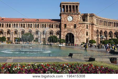 Yerevan,Armenia - July 10,2017:The beautiful building on the Square of the Republic in Yerevan,the capital of Armenia, one of the oldest cities in the world.