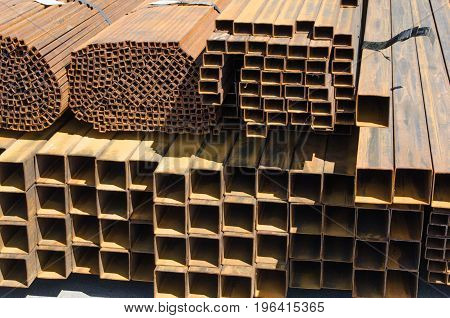 Large number of metal rectangular and square profiles and pipes