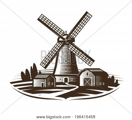 Windmill, mill logo or label. Farm, rural landscape, agriculture, bakery, bread icon. Vintage vector illustration isolated on white background