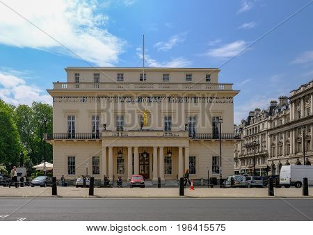 London UK -May 11 2017 Athenaeum Club Pall Mall West end London