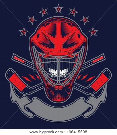 Hockey Helmet and Banner for your text