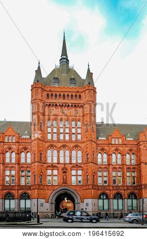 London UK - May 31 2017: Prudential Assurance Building in High Holborn London. Shows entrace to this historic building.