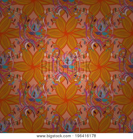 Flowers of the valley on colorful background. Watercolor hand drawn. Seamless background pattern. Vector - stock.