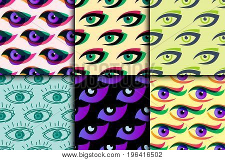 Eye blinker seamless pattern daylight glimmer template idea keeker light peeper company background vector illustration. Look see creative eyeball optical watch vision emblem.