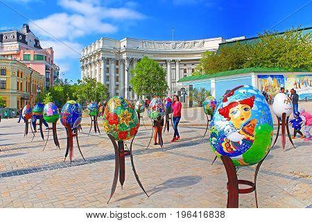 KYIV, UKRAINE - MAY 01, 2017: Painted eggs. Street festival of large Easter eggs on Mikhailovska Square