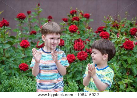 Two Adorable Brothers Kids Boys Playing Outdoors Together