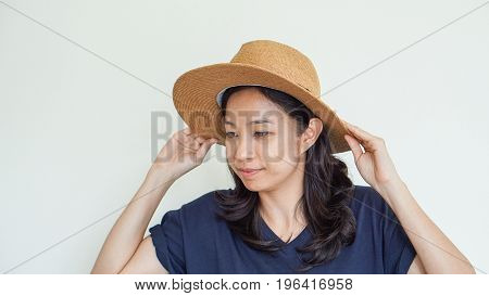 Asian Girl Wearing Straw Hat Summer Fun. Relax And Happy Expression