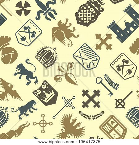 Heraldic lion royal crest medieval knight silhouette vintage king symbol heraldry seamless pattern vector illustration. Historical insignia crown luxury ornament graphic.