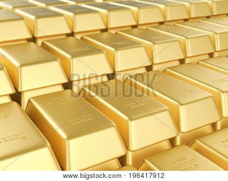 Background formed by gold bars. 3D illustration.