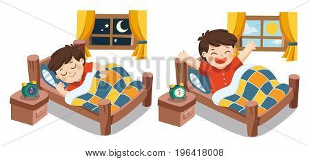 Isolated vector. A Little boy sleeping on tonight dreams good night and sweet dreams. he wake up in the morning.