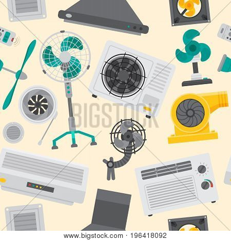 Air conditioner airlock systems equipment ventilator conditioning climate cool control seamless pattern background vector illustration. Blow acclimatization purifier blowing ventilation appliance.