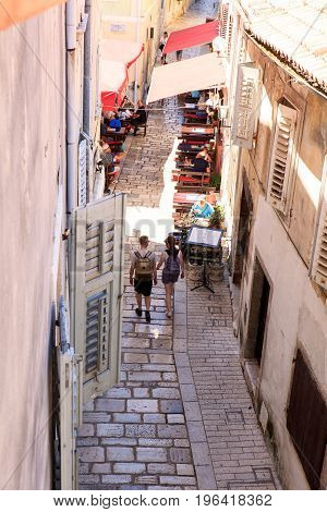 POREC CROATIA - JULY 14: View of the old Street on July 14 2017