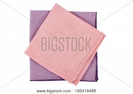 Violet and pink textile napkins isolated on white background
