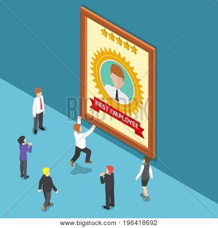 Isometric Business People Celebrate Best Employee Award