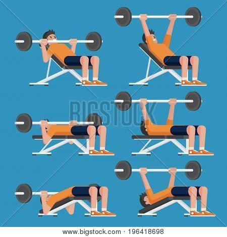 Set of man in weight training chest workout poses. Incline Decline chest press and Barbell Bench Press.