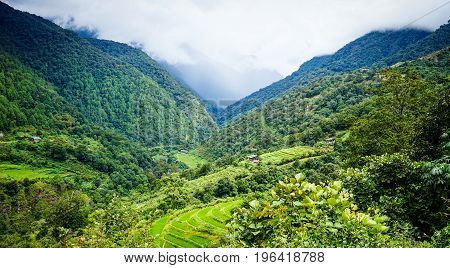 Mountain Scenery In Kingdoom Of Bhutan