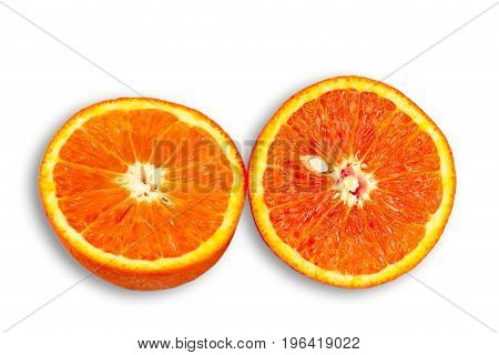 Two Half of blood red orange citrus fruit isolated on white background.