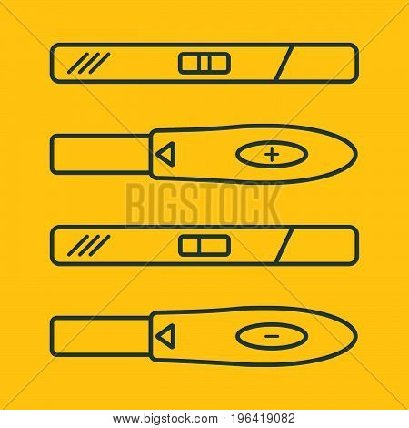Plastic color pregnancy tests. Medical fertility woman result pregnancy tests..vector illustration. Female planning future ovulation.