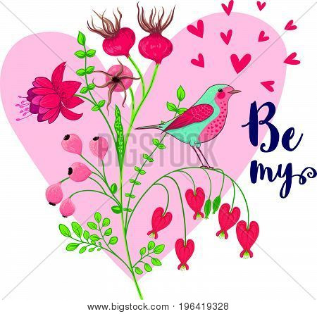 Vector illustration of a bird and a blooming branch. Floral background with a heart and Be my message