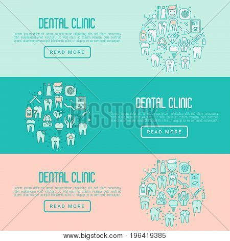 Dental clinic concept with thin line icons related to teeth treatment, dental equipment, oral hygiene. Vector illustration for web page, banner, print media.